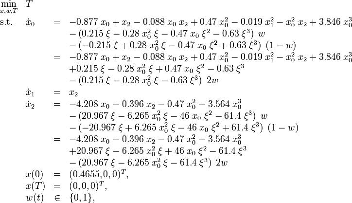 \begin{array}{llcl} \displaystyle \min_{x, w, T} & T \\[1.5ex] \mbox{s.t.} & \dot{x}_0 &=& -0.877 \; x_0 + x_2 - 0.088 \; x_0 \; x_2 + 0.47 \; x_0^2 - 0.019 \; x_1^2 - x_0^2 \; x_2 + 3.846 \; x_0^3 \\&&&           - \left( 0.215 \; \xi - 0.28 \; x_0^2 \; \xi - 0.47 \; x_0 \; \xi^2 - 0.63 \; \xi^3 \right) \; w \\ &&&           - \left( - 0.215 \; \xi + 0.28 \; x_0^2 \; \xi - 0.47 \; x_0 \; \xi^2 + 0.63 \; \xi^3 \right) \; (1 - w) \\ &           &=& -0.877 \; x_0 + x_2 - 0.088 \; x_0 \; x_2 + 0.47 \; x_0^2 - 0.019 \; x_1^2 - x_0^2 \; x_2 + 3.846 \; x_0^3 \\&&&           + 0.215 \; \xi - 0.28 \; x_0^2 \; \xi + 0.47 \; x_0 \; \xi^2 - 0.63 \; \xi^3 \\ &&&           - \left( 0.215 \; \xi - 0.28 \; x_0^2 \; \xi - 0.63 \; \xi^3 \right) \; 2 w \\ & \dot{x}_1 &=& x_2 \\& \dot{x}_2 &=& -4.208 \; x_0 - 0.396 \; x_2 - 0.47 \; x_0^2 - 3.564 \; x_0^3 \\&&&           - \left( 20.967 \; \xi - 6.265 \; x_0^2 \; \xi -46 \; x_0 \; \xi^2 - 61.4 \; \xi^3 \right) \; w \\ &&&           - \left( - 20.967 \; \xi + 6.265 \; x_0^2 \; \xi -46 \; x_0 \; \xi^2 + 61.4 \; \xi^3 \right) \; (1 - w) \\ &           &=& -4.208 \; x_0 - 0.396 \; x_2 - 0.47 \; x_0^2 - 3.564 \; x_0^3 \\&&&           + 20.967 \; \xi - 6.265 \; x_0^2 \; \xi + 46 \; x_0 \; \xi^2 - 61.4 \; \xi^3 \\ &&&           - \left( 20.967 \; \xi - 6.265 \; x_0^2 \; \xi - 61.4 \; \xi^3 \right) \; 2 w \\  & x(0) &=& (0.4655,0,0)^T, \\ & x(T) &=& (0,0,0)^T, \\ & w(t) &\in& \{0,1\},\end{array}
