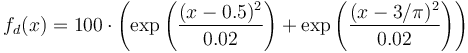 f_d(x) = 100 \cdot \left( \exp \left( \frac{(x - 0.5)^2}{0.02} \right) + \exp \left( \frac{(x - 3 / \pi)^2}{0.02} \right) \right)