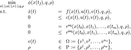 \begin{array}{llcl} \displaystyle \min_{x(\cdot), u(\cdot), v(\cdot), q, \rho} & \phi(x(t_f), q, \rho) \\[1.5ex] \mbox{s.t.} & \dot{x}(t) & = & f(x(t), u(t), v(t), q, \rho), \\ & 0 &\le& c(x(t),u(t),v(t), q, \rho), \\[1.5ex] & 0 &=& r^{\text{eq}}(x(t_0),x(t_1), \dots, x(t_m), q, \rho), \\ & 0 &\le& r^{\text{ieq}}(x(t_0),x(t_1), \dots, x(t_m), q, \rho), \\[1.5ex] & v(t) &\in& \Omega := \{v^1, v^2, \dots, v^{n_\omega} \},\\ & \rho &\in& \Rho := \{\rho^1, \rho^2, \dots, \rho^{n_\Rho} \},\end{array}