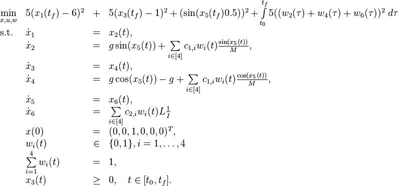 \begin{array}{llclr}  \displaystyle \min_{x,u, w} &  5(x_1(t_f)-6)^2&+&5(x_3(t_f)-1)^2+(\sin(x_5(t_f)0.5))^2 +\int\limits_{t_0}^{t_f} 5( (w_2(\tau)+w_4(\tau)+w_6(\tau))^2  \ d \tau   \\[1.5ex]  \mbox{s.t.}   & \dot{x}_1 & = &  x_2(t), \\  & \dot{x}_2 & = & g \sin( x_5(t)) + \sum\limits_{i\in [4]}c_{1,i}w_i(t)\frac{\sin(x_5(t))}{M},   \\  & \dot{x}_3 & = & x_4(t),   \\  & \dot{x}_4 & = & g \cos( x_5(t))-g+  \sum\limits_{i\in [4]}c_{1,i}w_i(t)\frac{\cos(x_5(t))}{M},   \\  & \dot{x}_5 & = & x_6(t),   \\  & \dot{x}_6 & = &  \sum\limits_{i\in [4]}c_{2,i}w_i(t)L \frac{1}{I}  \\[1.5ex]  & x(0) &=& (0, 0, 1, 0 , 0, 0)^T, \\  & w_i(t) &\in&  \{0, 1\}, i=1,\ldots,4 \\  & \sum\limits_{i=1}^{4}w_i(t) &=& 1, \\ & x_3(t) & \geq & 0, \quad t\in[t_0,t_f]. \end{array}